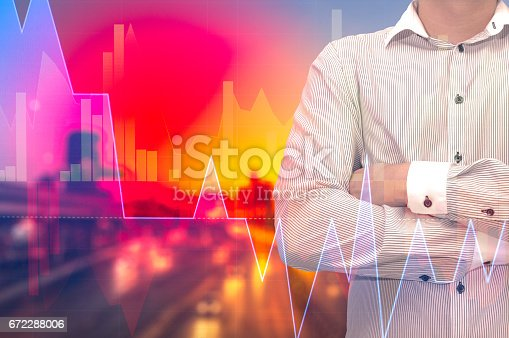 istock Stock market digital graph chart on LED display concept. A large display of daily stock market price and quotation. Indicator financial forex trade education background. 672288006