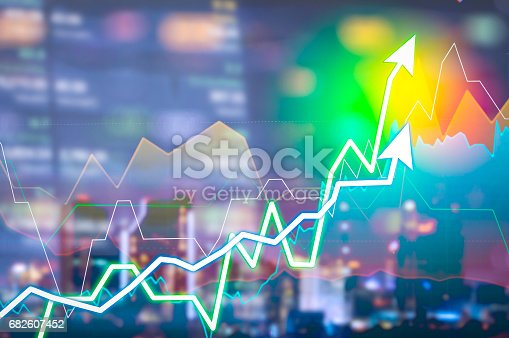 istock Stock market digital graph chart on LED display concept. A large display of daily stock market price and quotation. Indicator financial forex trade education background. 682607452