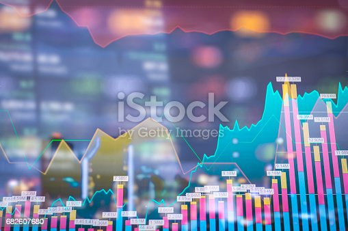 istock Stock market digital graph chart on LED display concept. A large display of daily stock market price and quotation. Indicator financial forex trade education background. 682607680