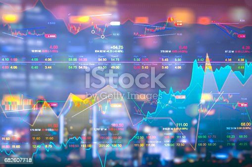 istock Stock market digital graph chart on LED display concept. A large display of daily stock market price and quotation. Indicator financial forex trade education background. 682607718