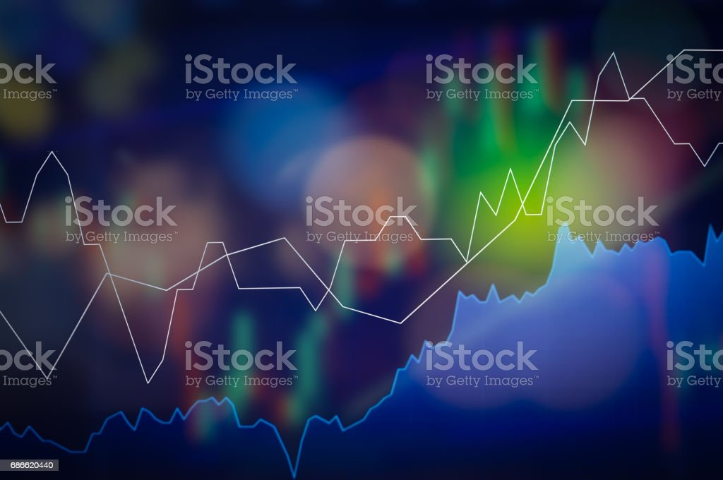 Stock market digital graph chart on LED display concept. A large display of daily stock market price and quotation. Indicator financial forex trade education background. royalty-free stock photo