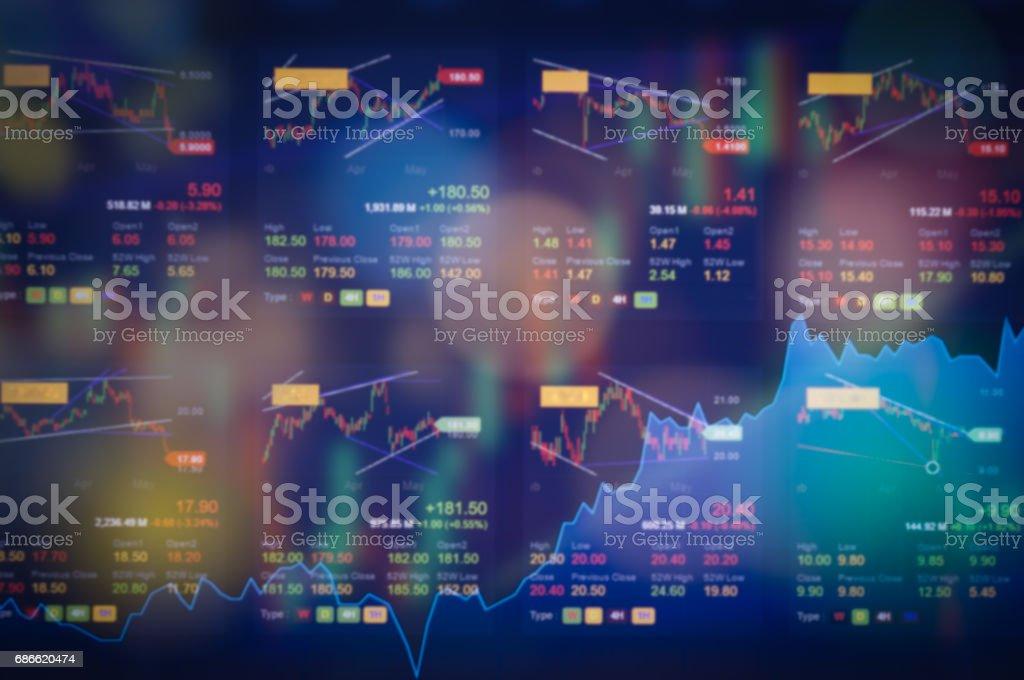 Graphique du marché boursier graphique numérique sur la notion d'affichage LED. Un grand écran de prix de marché boursier quotidien et estimés. Contexte l'éducation d'indicateur financier forex commerce. photo libre de droits