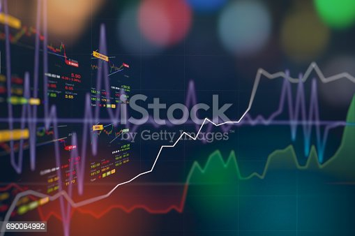 istock Stock market digital graph chart on LED display concept. A large display of daily stock market price and quotation. Indicator financial forex trade education background. 690064992