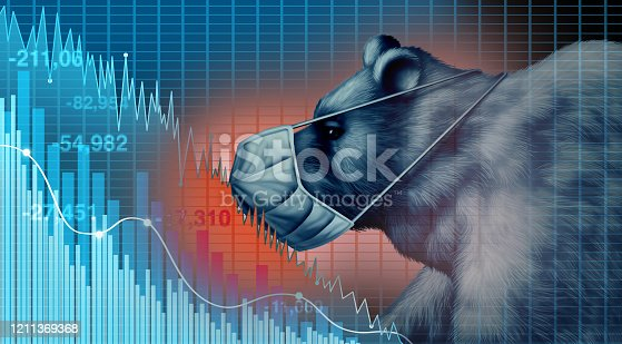 Stock market disease and economy health care as an economic pandemic fear and coronavirus fears or virus Outbreak and selling as a bear financial recession concept with 3D illustration elements.