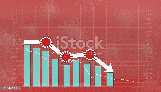 istock Stock market down on coronavirus fears, Economy down with coronavirus 2019-nCov, Pandemic virus, Stock market crisis red price arrow down chart fall. 3d rendering. 1210654416