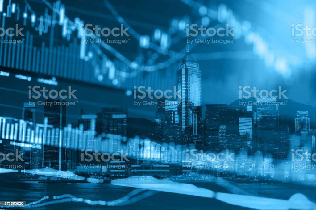 Stock Market Exchange on a city background stock photo