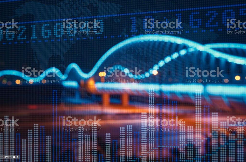 Stock Market Exchange auf einem Wolkenkratzer in Dubai Hintergrund – Foto