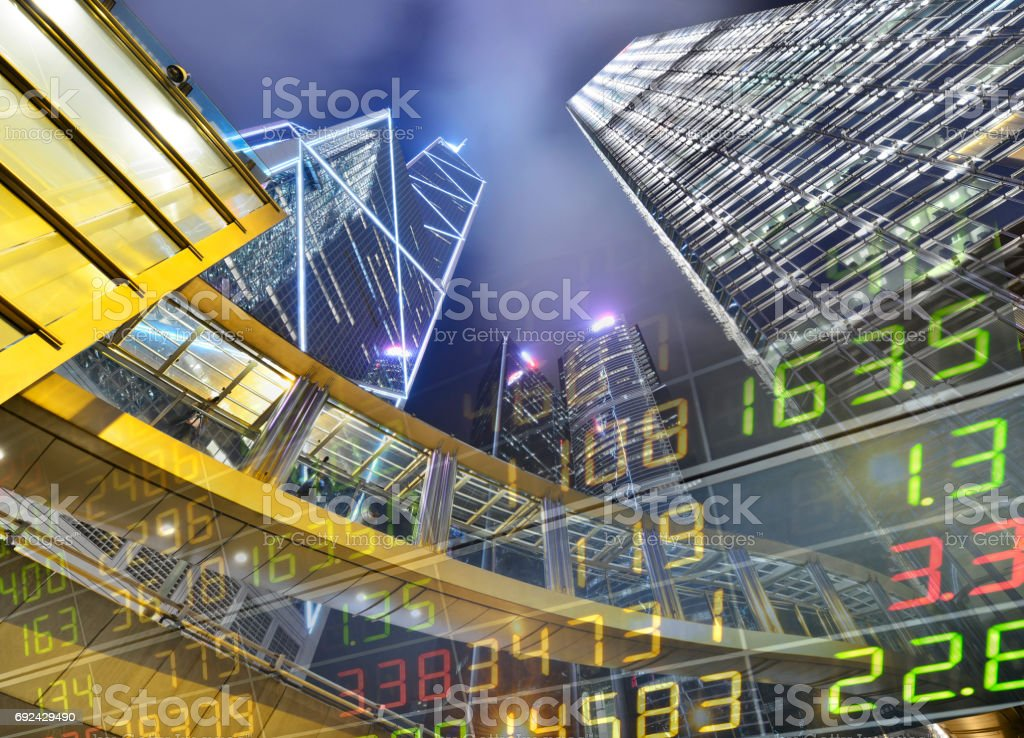Stock Market Exchange on a skyscraper in Hong Kong stock photo
