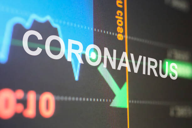 Stock market fall with Coronavirus outbreak stock photo