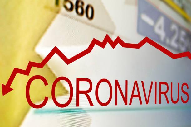 Stock market fall with Coronavirus outbreak stock photo