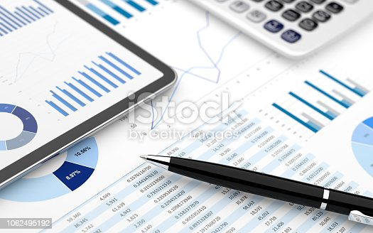 Stock market finance account report digital tablet chart value