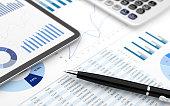 Stock market finance account report digital tablet chart value