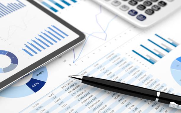 Stock market finance account report digital tablet chart value stock photo