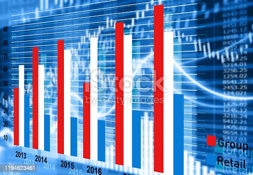 istock stock market finance graph background with abstract Growth graph chart 1194623461