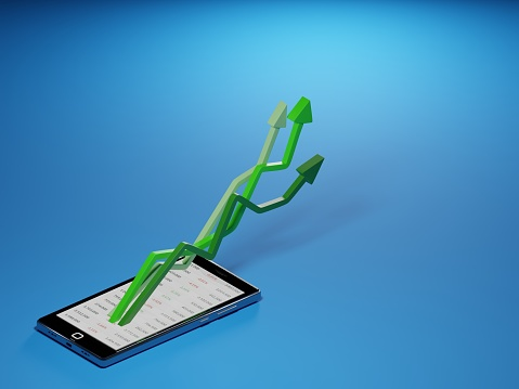 831745600 istock photo Stock market gains using a mobile device. Green arrows rising from a smartphone. Concept background digital 3D render. 1222281121