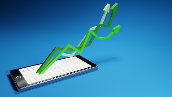 831745600 istock photo Stock market gains using a mobile device. Green arrows rising from a smartphone. Concept background digital 3D render. 1222281151