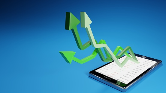 831745600 istock photo Stock market gains using a mobile device. Green arrows rising from a smartphone. Concept background digital 3D render. 1222281681