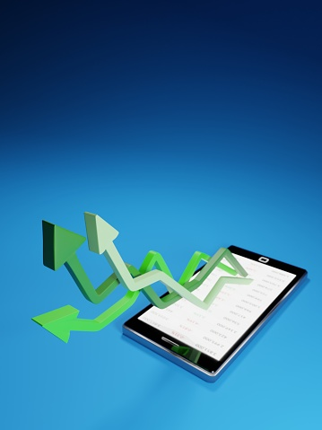 831745600 istock photo Stock market gains using a mobile device. Green arrows rising from a smartphone. Concept background digital 3D render. 1222282205