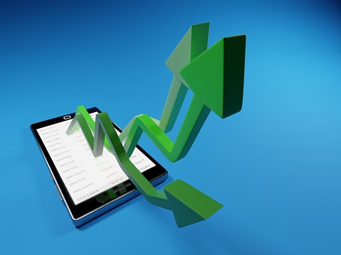 831745600 istock photo Stock market gains using a mobile device. Green arrows rising from a smartphone. Concept background digital 3D render. 1222282225