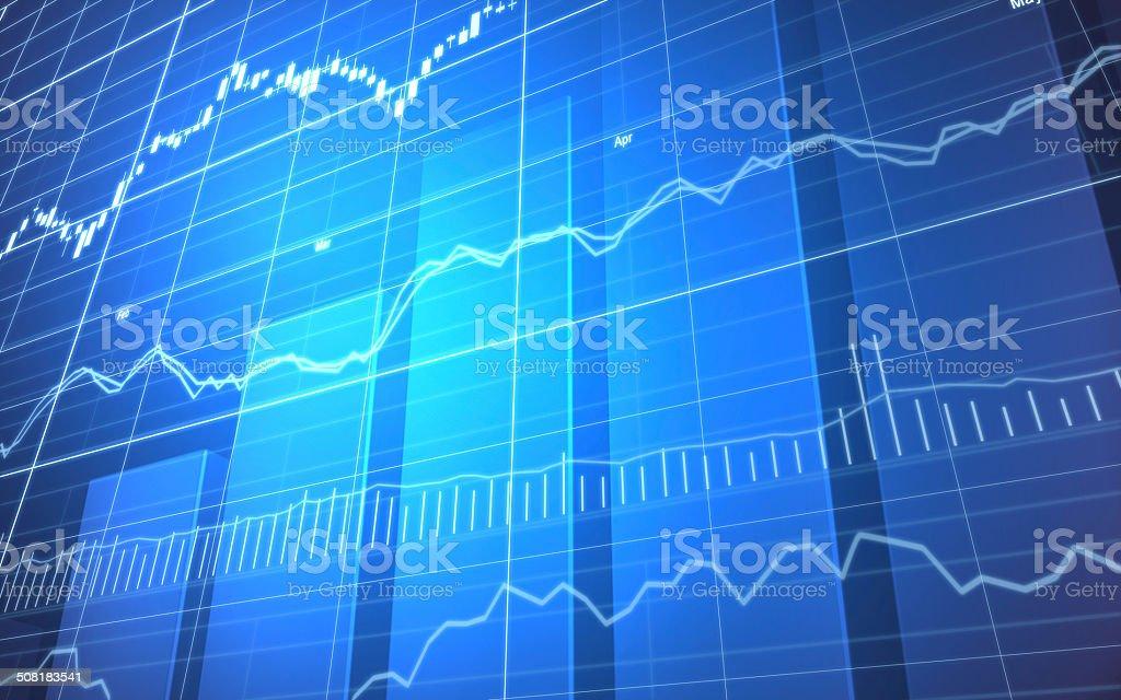 Stock Market Graph and Bar Chart stock photo