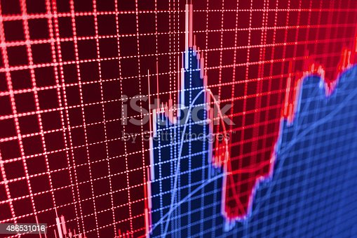 istock Stock market graph and bar chart price display 486531016