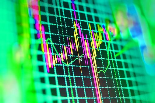 1155852718 istock photo Stock market graph and bar chart price display 488651274
