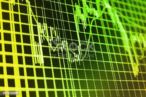 istock Stock market graph and bar chart price display 492606886