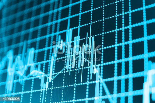 istock Stock market graph and bar chart price display 492606908