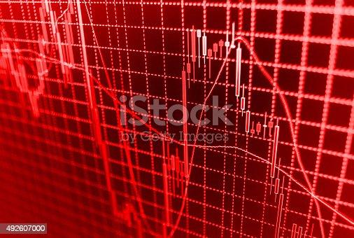 istock Stock market graph and bar chart price display 492607000