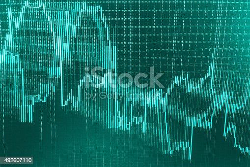 istock Stock market graph and bar chart price display 492607110