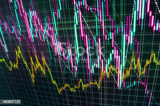 istock Stock market graph and bar chart price display 492607132