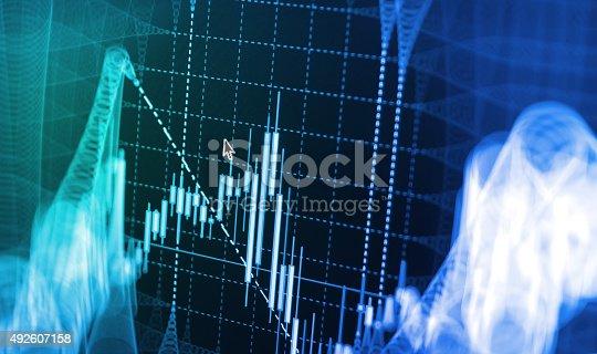 istock Stock market graph and bar chart price display 492607158