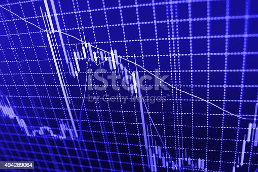 istock Stock market graph and bar chart price display 494289064
