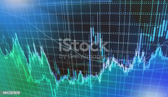 istock Stock market graph and bar chart price display 494292628