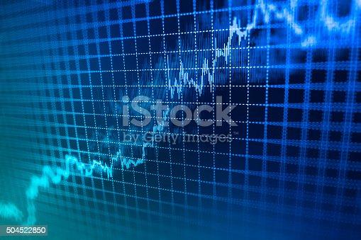 istock Stock market graph and bar chart price display 504522850