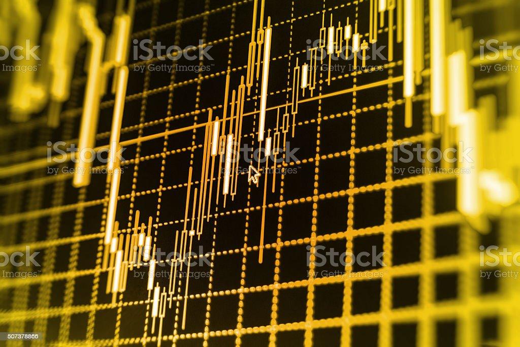 Stock market graph and bar chart price display bildbanksfoto