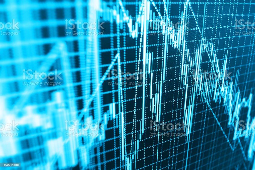 Stock market graph and bar chart price display stock photo