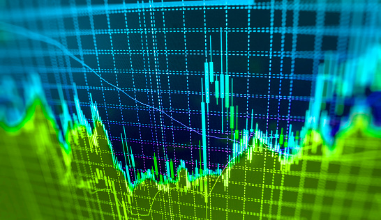 istock Stock market graph and bar chart price display 524907074