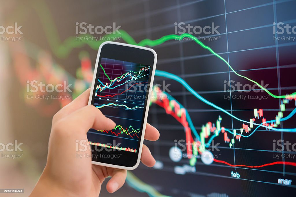 Stock market graph and office work royalty-free stock photo