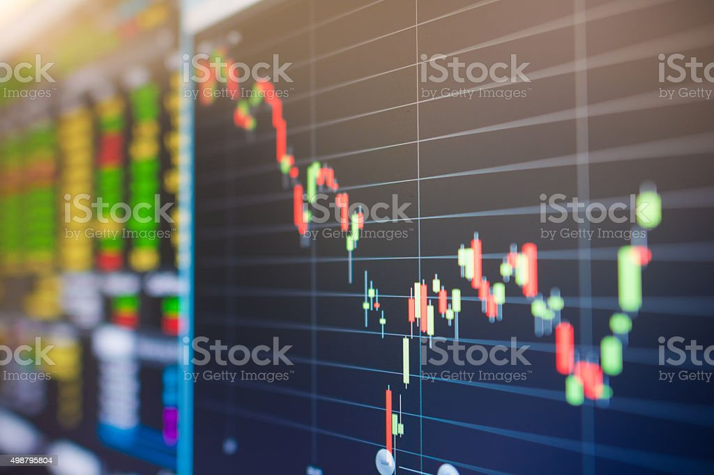 Stock market graph and tecnical analysis stock stock photo