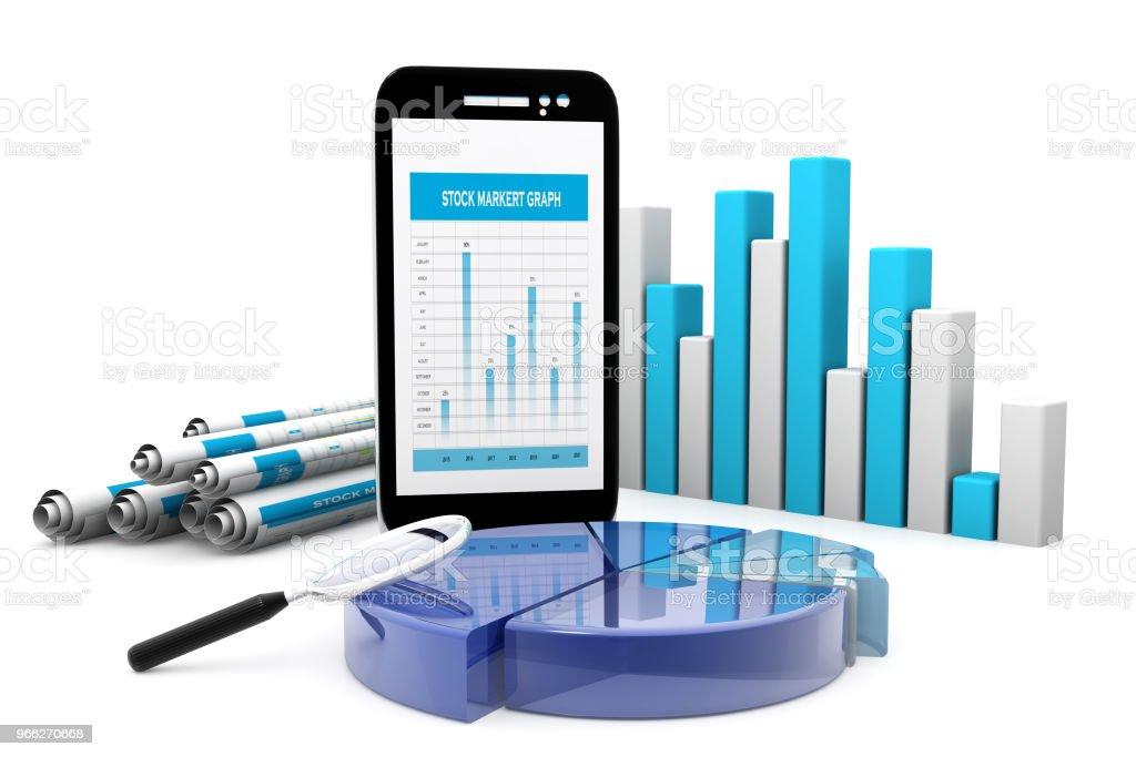 Stock market graph, chart, economical, diagram. 3d render stock photo