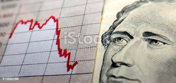 Stock Market Graph next to a 10 dollar bill (showing former president Hamilton). Red trend line indicates the stock market recession period