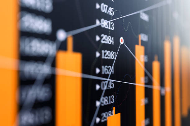 Stock market graph , Financial Data Analysis stock photo