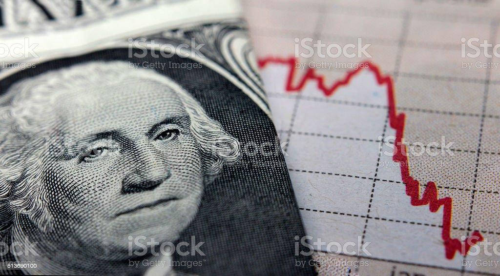 Stock Market Graph next to a 1 dollar bill stock photo