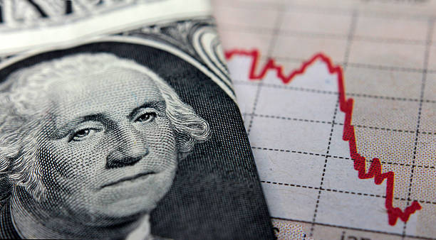 Stock Market Graph next to a 1 dollar bill Stock Market Graph next to a 1 dollar bill (showing former president Washington). Red trend line indicates the stock market recession period collapsing stock pictures, royalty-free photos & images