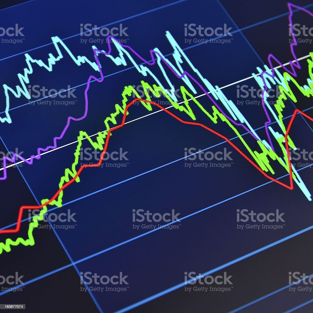 Stock market graph on a tablet computer royalty-free stock photo