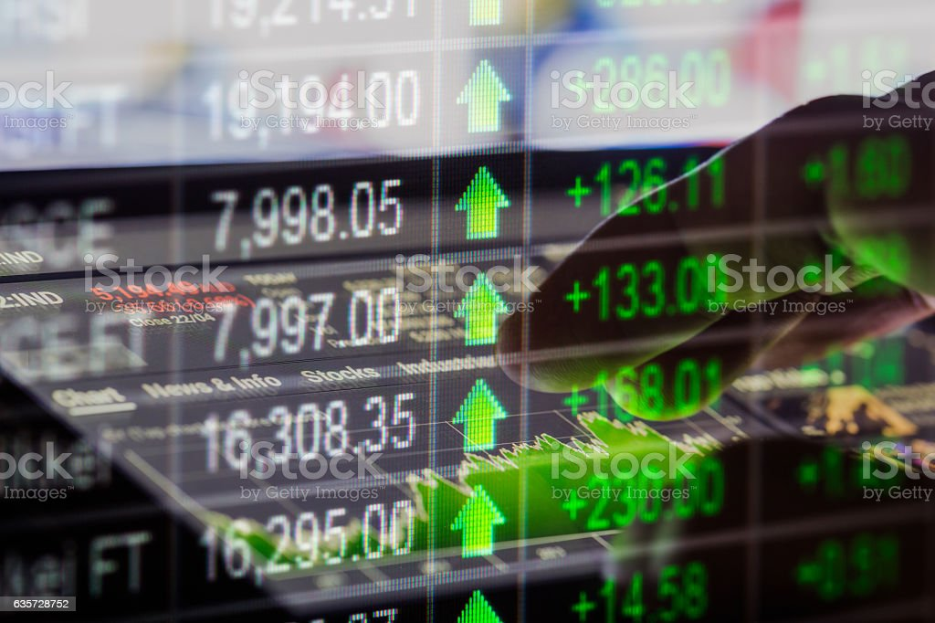 Stock market indicator and financial data view from LED. Double stock photo