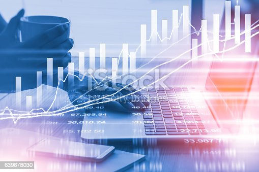 istock Stock market indicator and financial data view from LED. Double 639678030