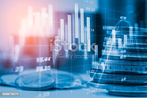 istock Stock market indicator and financial data view from LED. Double 639678070
