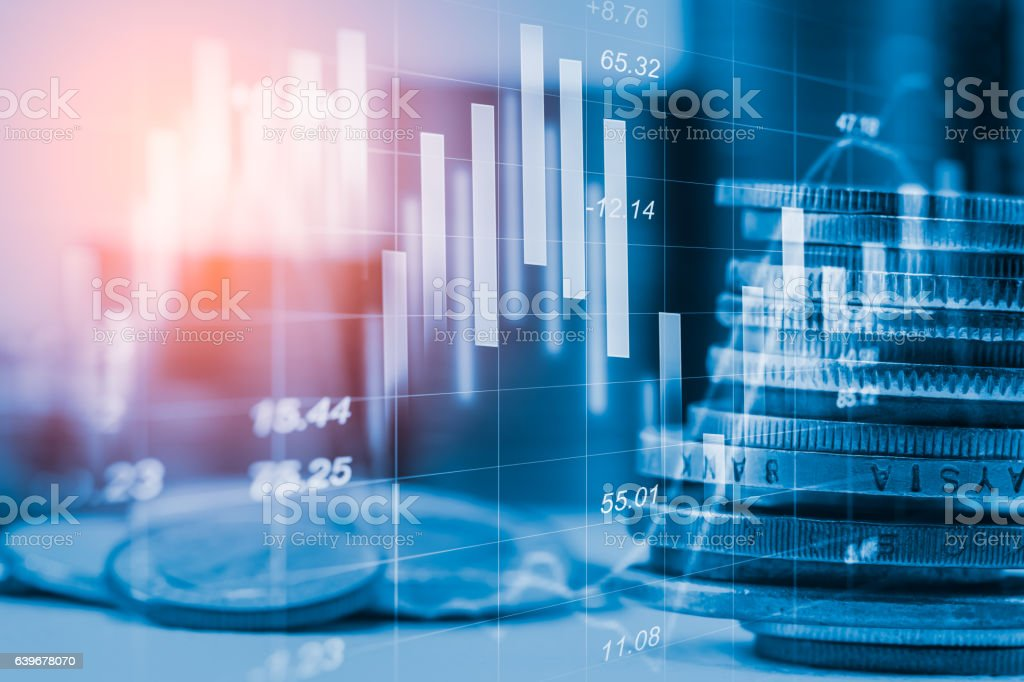 Stock market indicator and financial data view from LED. Double – Foto